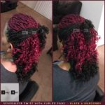 Senegalese Twist with Curled Ends - Black and Burgundy