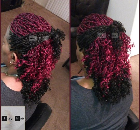 Senegalese Twist With Curled Ends Black And Burgundy