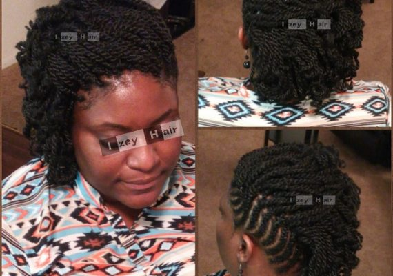 Part Feed-In Cornrows and Part Kinky Twists - Color 1B (off-black): Photo by Izey Hair in Las Vegas, NV