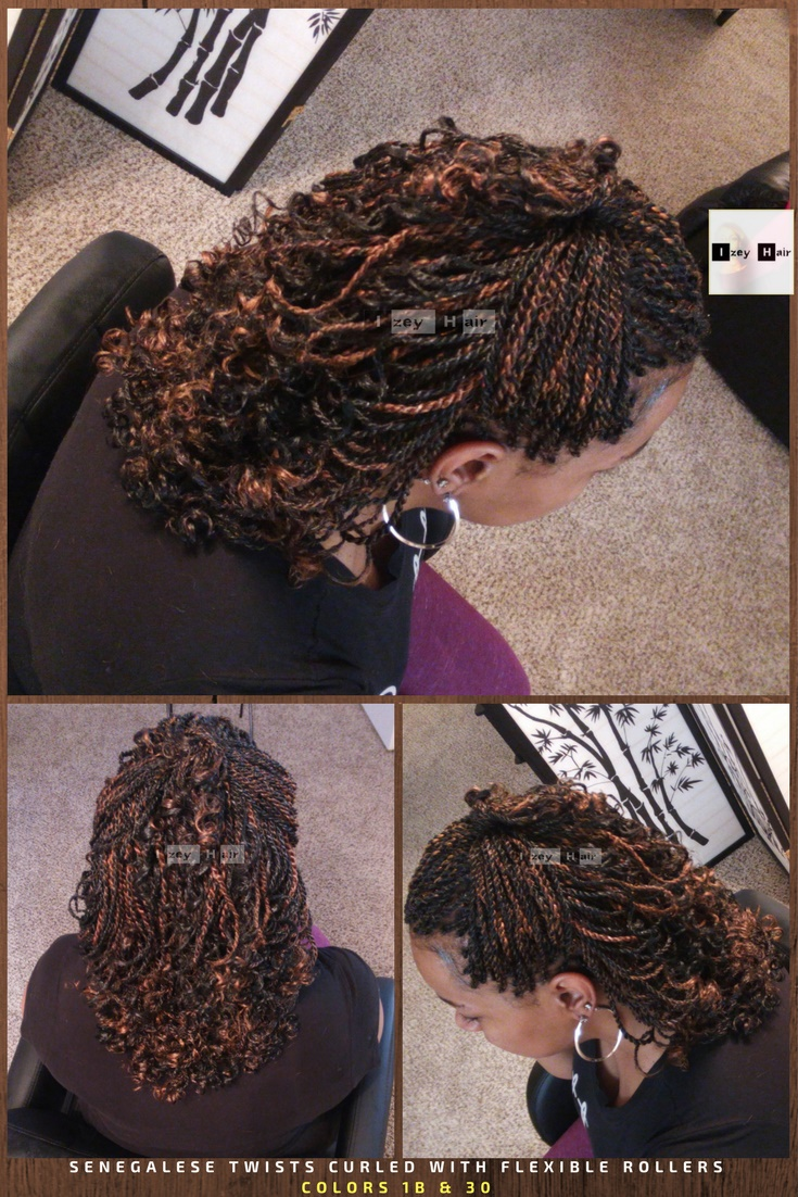 Senegalese Twists Curled with Flexirods - Colors 1B (off-black) and 30 (medium auburn): Photo by Izey Hair in Las Vegas, NV