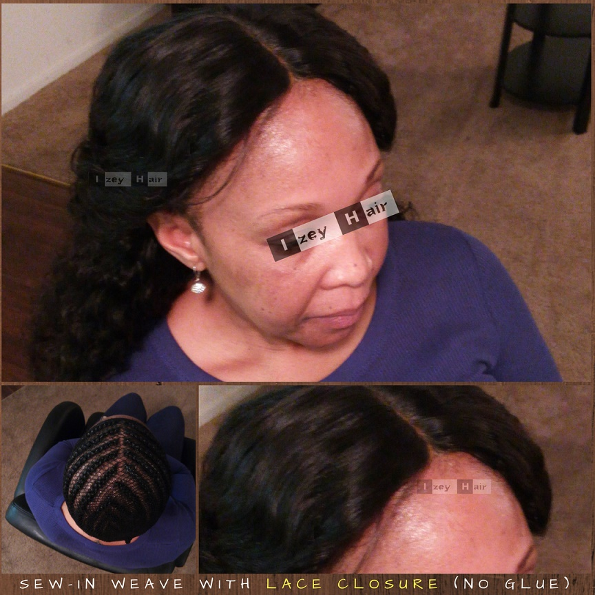 Sew-in Weave with Lace Closure - No Glue - Brazilian Deep Wave