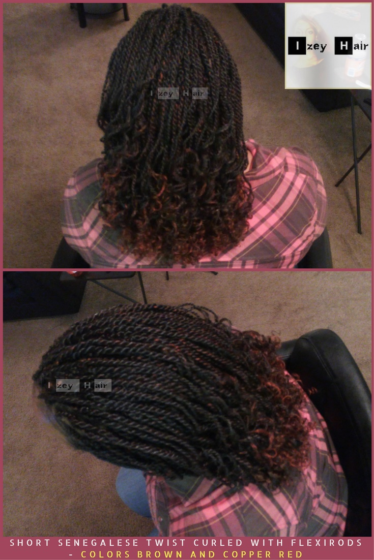 Short Senegalese Twist Curled with Flexirods - Colors Brown and Copper Red