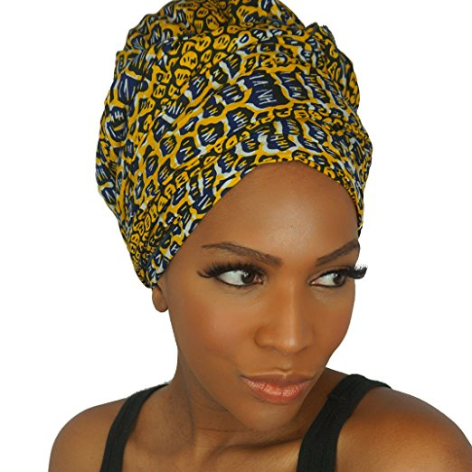 The Urban Turbanista Head Wrap -Extra Long African Wax Print Headwrap Scarf Tie