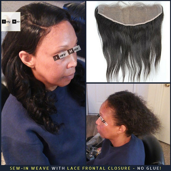 Sew-in Weave with Lace Frontal Closure No Glue - Brazilian Unprocessed Virgin Hair - Loose Wave Photo by Izey Hair in Las Vegas, NV