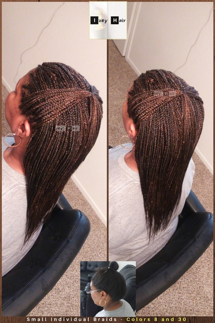 Feathered and Tapered Ends - Small Individual Braids - Colors 8 and 30 - Izey Hair - Las Vegas, NV