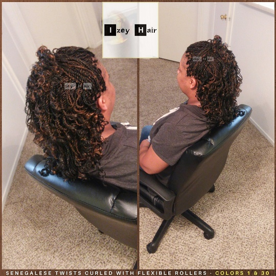 Senegalese Twists Curled With Flexible Rollers - Colors 1 & 30 - Izey Hair - Las Vegas, NV - Copy