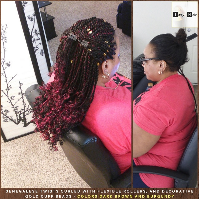 Senegalese Twists Curled With Flexible Rollers, and decorative Gold Braid/Loc Cuff Beads: Colors Dark Brown and Burgundy. Photo by Izey Hair - Las Vegas, NV