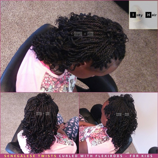 Senegalese Twists Curled with Flexirods for Kids - Izey Hair - Las Vegas, NV