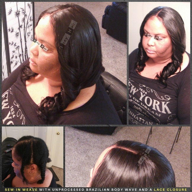 Sew-in Weave with Unprocessed Brazilian Body Wave and a Lace Closure - Izey Hair - Las Vegas, NV