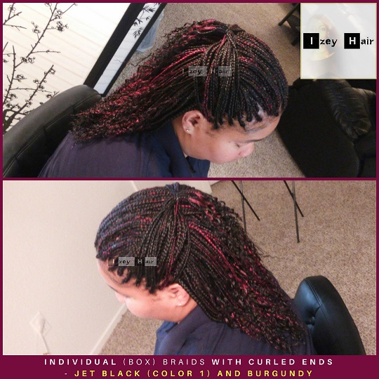 Small Individual (Box) Braids With Braided Curled Ends - Jet Black (color 1) and Burgundy - Izey Hair - Las Vegas, NV