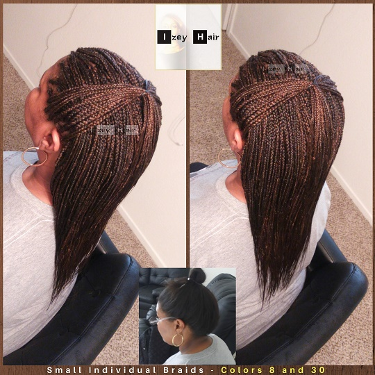 Small Individual Braids - Colors 8 and 30 - Izey Hair - Las Vegas, NV