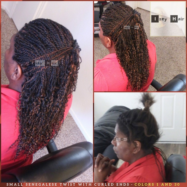 Small Senegalese Twist With Curled Ends - Colors 1 and 30 - Izey Hair - Las Vegas, NV