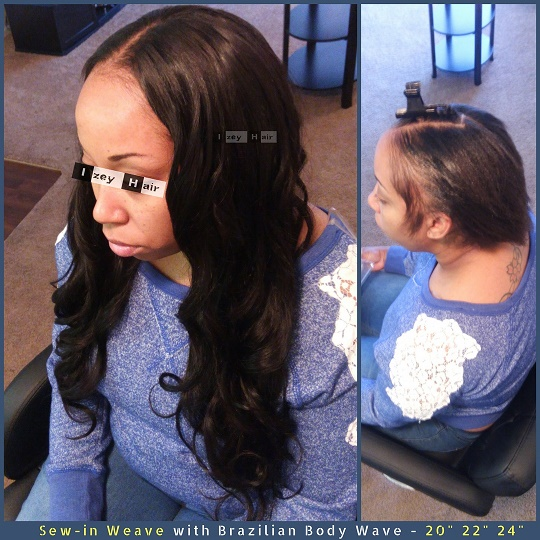 Natural Looking Sew-in Weave with Brazilian Body Wave - 20 inches 22 inches 24 inches - Izey Hair - Las Vegas, NV