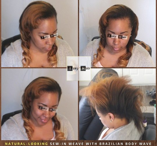 Natural-Looking Sew-in Weave with Brazilian Body Wave - Ombre - Colors 1B, 27 and 30 - Izey Hair - Las Vegas, NV