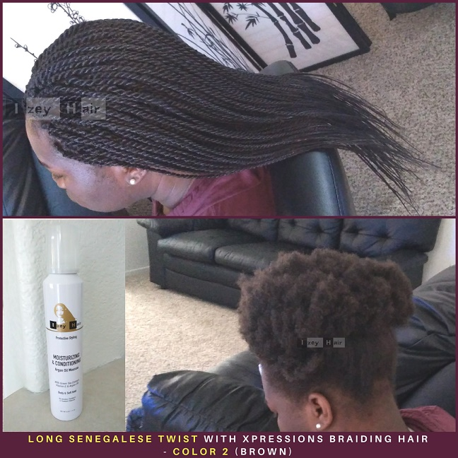 Long Senegalese Twist with Xpressions Braiding Hair - Color 2 (Brown) - Izey Hair - Las Vegas, NV