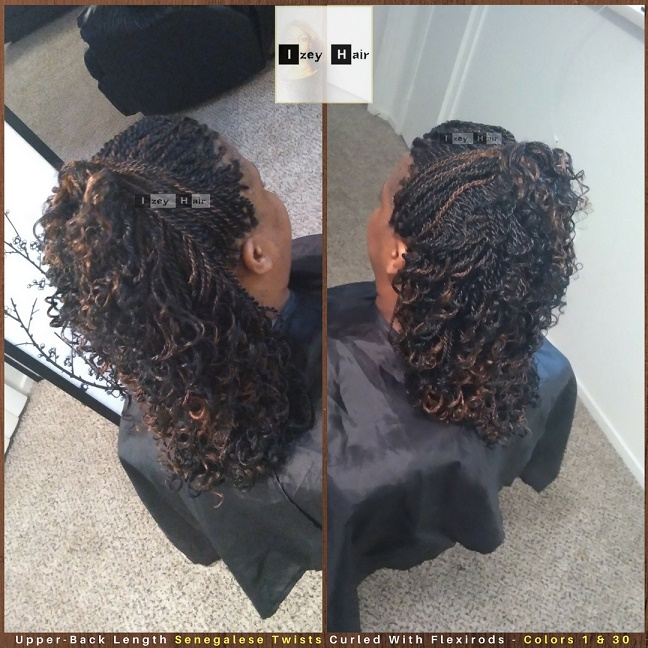 Upper-Back Medium Length Senegalese Twists Curled With Flexirods - Colors 1 and 30 - Izey Hair - Las Vegas, NV
