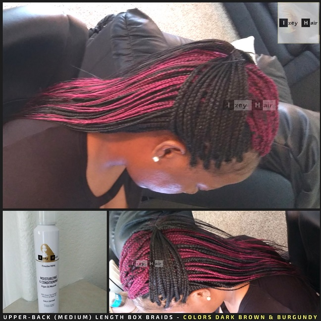 Upper-Back (Medium) Length Box Braids - Colors Dark Brown and Burgundy - Izey Hair - Las Vegas, NV