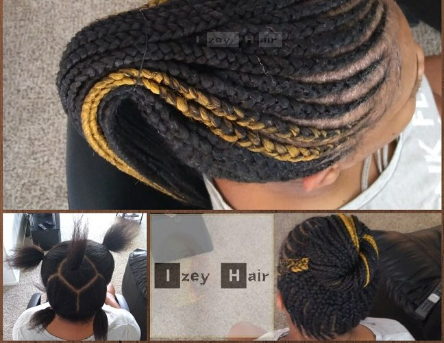 Feed-in Braids (Cornrows) Style in a Ponytail. Colors 1B (Off-Black) and 144 (Golden Blond) - Izey Hair - Las Vegas, NV