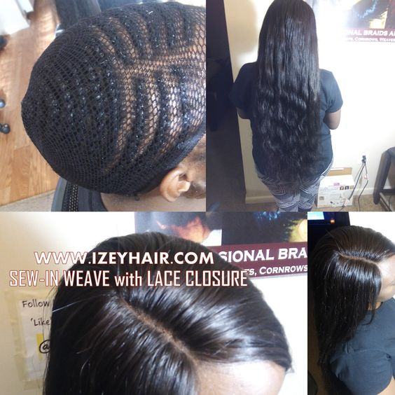 Sew-in Weaves with Indian Hair Bundles and Lace Closure (not styled)