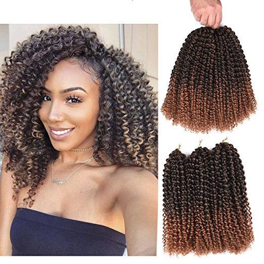 12inch 24Strands Ombre Malibob Jerry Kinky Curly Crochet Hair Extensions