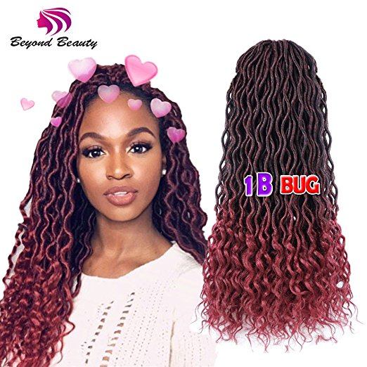 1B and Burgundy Ombre Faux Locs Crochet Braiding Hair with Curly Ends