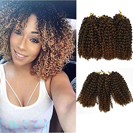 8 inch Marley Braid Ombre Kinky Curly Crochet Hair Extensions