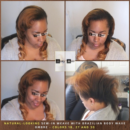 Blond Natural-Looking-Sew-in-Weave-with-Brazilian-Body-Wave-Ombre-Colors-1B-27-and-30-Izey-Hair-Las-Vegas-NV