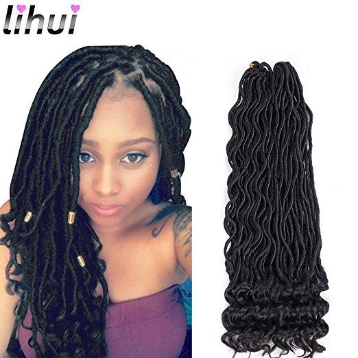 Curly Goddess Faux Locs Crochet Braiding Hair With Gold Bead Metal Cuffs