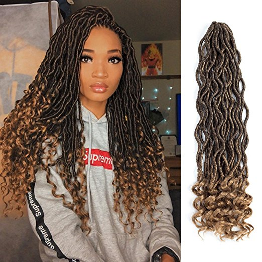 Eerya 1B/27 Ombre Goddess Faux Locs Crochet Braiding Hair with Curly Ends