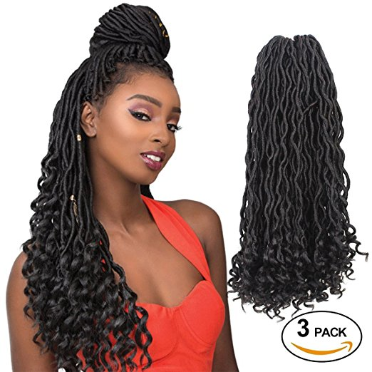 Eerya Natural Goddess Faux Locs Crochet Braiding Hair with Curly Ends