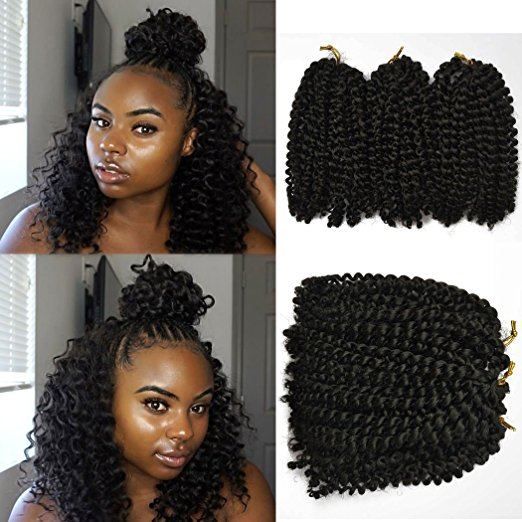 Flyteng 8inch Marlybob Kinky Curly Crochet Hair Extensions
