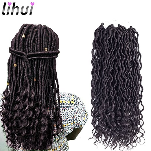 Lihui Goddess Faux Locs Crochet Braiding Hair with Wavy Ends – with Gold and Silver Cuff Beads