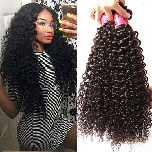 Long Brazilian Kinky Curly Weave Hair Bundles