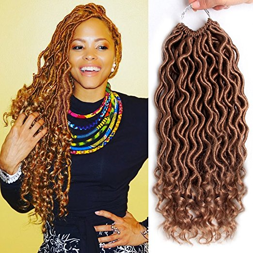 MOBOK Color 27 Goddess Faux Locs Crochet Braiding Hair with Curly Ends