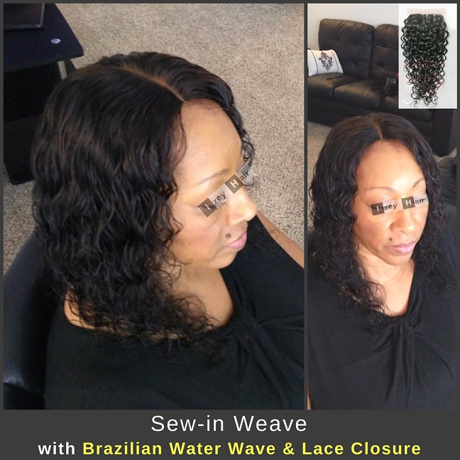 Natural-Looking Sew-in Weave with Brazilian Water Wave & Lace Closure - Izey Hair - Las Vegas, NV