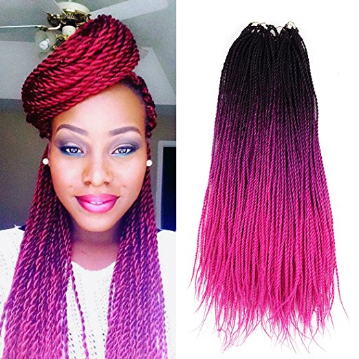 Ombre (Black and Pink) Crochet Senegalese Twist