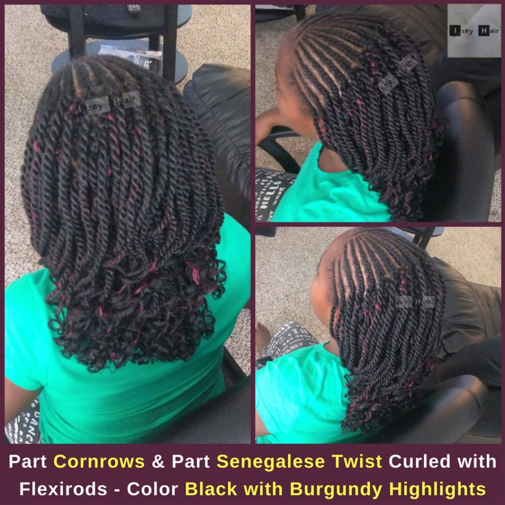 Part Cornrows and Part Senegalese Twist Curled with Flexirods - Color Black with Burgundy Highlights - Izey Hair - Las Vegas, NV