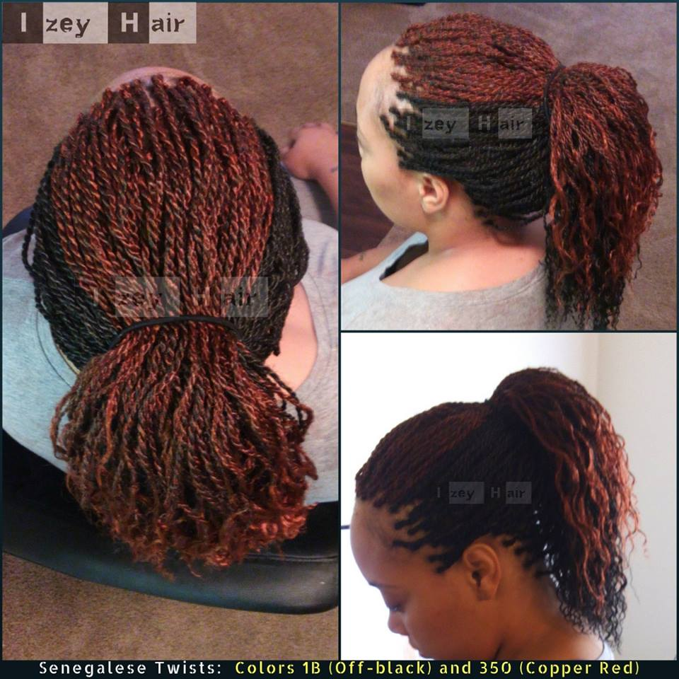 Senegalese Twists - Colors 1B (Off-black) and 350 (Copper Red)