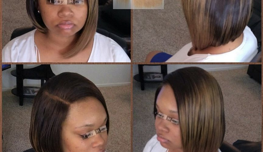 Sew-in Bob Weave with Color 4/27 Ombre Brazilian Straight Hair and Lace Closure