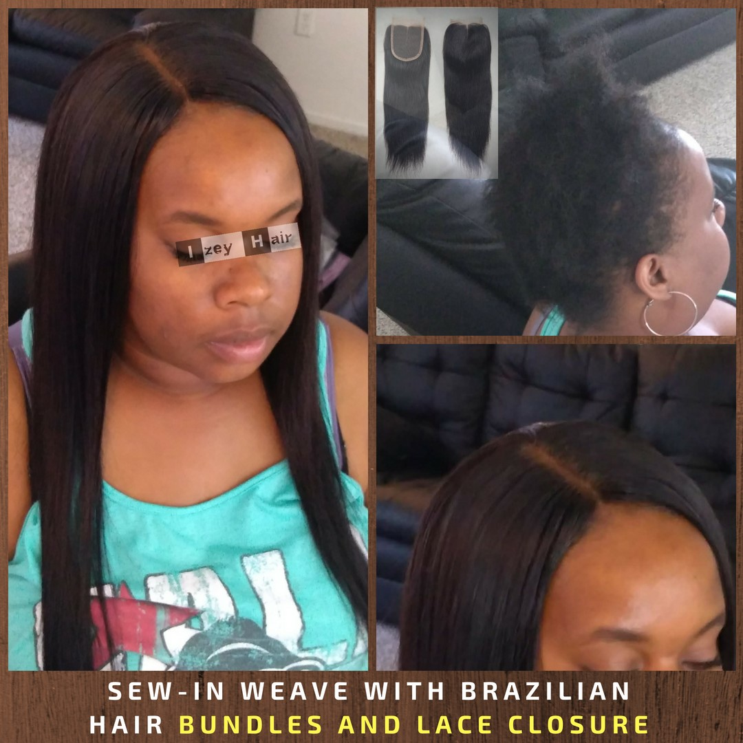 Sew-in Weave with Brazilian Hair Bundles And Lace Closure - Izey Hair - Las Vegas, NV
