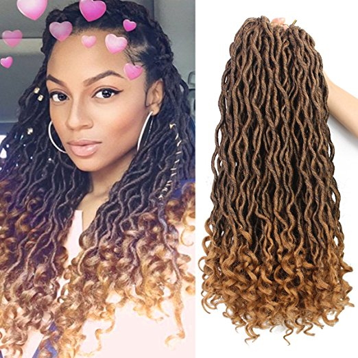 Wavy Goddess Ombre Faux Locs Crochet Braiding Hair with Great Reviews