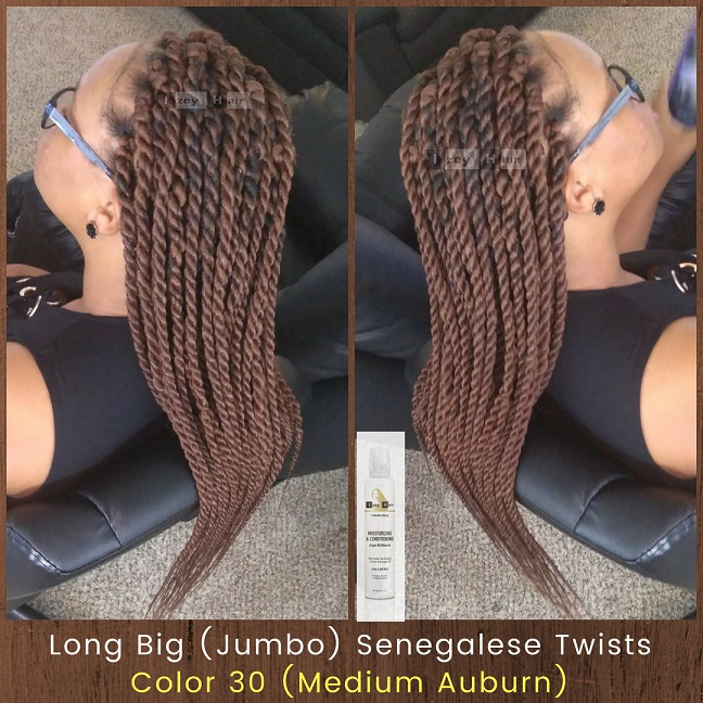 Long Big (Jumbo) Senegalese Twists. Color 30 (Medium Auburn) - Izey Hair - Las Vegas, NV