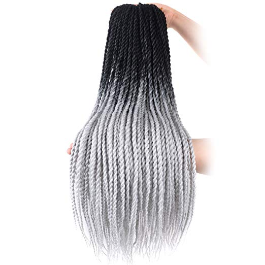 Ombre Black and Grey Crochet Senegalese Twist