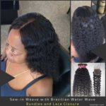Sew-in Weave with Brazilian Water Wave Bundles and Lace Closure