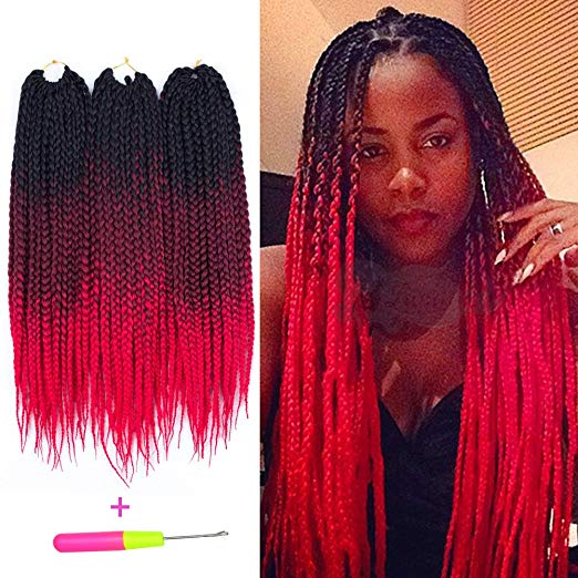 3 Tone Ombre Crochet Box Braids - Colors 1b, Burgundy and Red