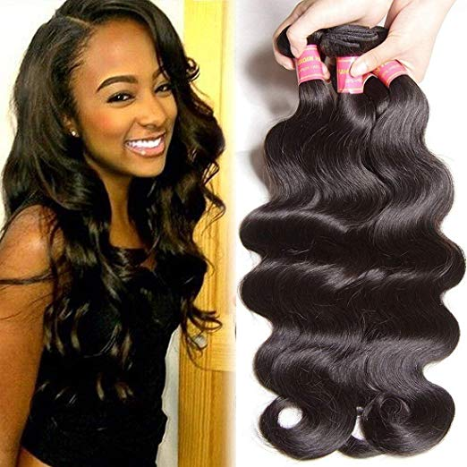 Beauty Forever Co.,Ltd -- 3 Bundles of Brazilian Body Wave Unprocessed Virgin Human Hair Weft Extensions - Natural Black
