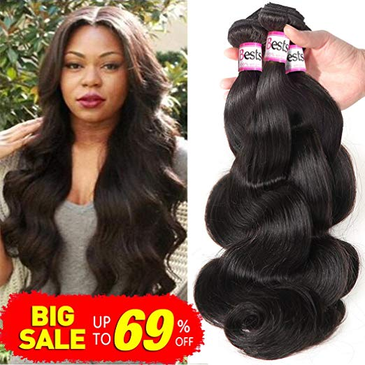 Bestsojoy Brazilian Body Wave Virgin Hair - 4 Bundles, Grade 8A - Unprocessed Remy Human Hair Weave - Natural Color