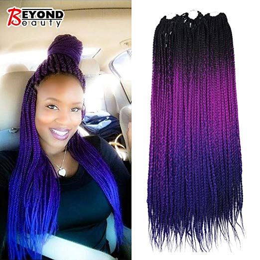 Black, Purple and Blue - Ombre Crochet Box Braid Style