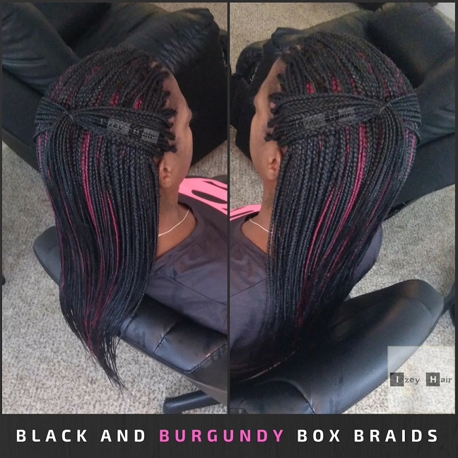 Black and Burgundy Box Braids - Izey Hair - Las Vegas, NV