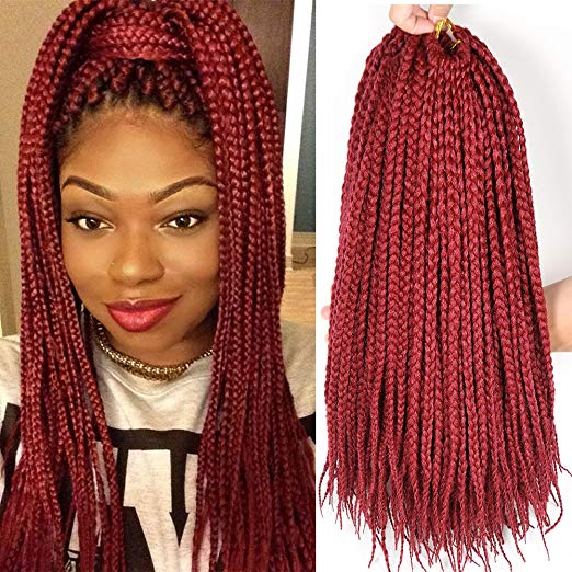 Burgundy 6Packs - 18 inch Crochet Box Braids